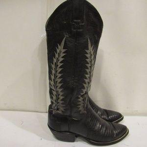 Handmade Size 5 Black Cowboy Boots Womens C2B E7